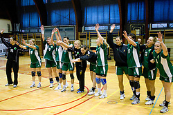 Team of Olimpija at last 10th Round handball match of Slovenian Women National Championships between RK Krim Mercator and RK Olimpija, on May 15, 2010, in Galjevica, Ljubljana, Slovenia. Olimpija defeated Krim 39-36, but Krim became Slovenian National Champion. (Photo by Vid Ponikvar / Sportida)