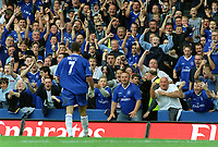 Adrian Mutu (Chelsea) celebrates his goal with the fans  (Chelsea's 1st goal). Chelsea v Blackburn Rovers. 30/8/03. Credit : Colorsport/Andrew Cowie.