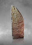 Late European Neolithic prehistoric Menhir standing stone with carvings on its face side. The representation of a stylalised male figure starts at the top with a long nose from which 2 eyebrows arch around the top of the stone. below this is a carving of a falling figure with head at the bottom and 2 curved arms encircling a body above. at the bottom is a carving of a dagger running horizontally across the menhir. Excavated from Pranu Maore I site,  Laconi. Menhir Museum, Museo della Statuaria Prehistorica in Sardegna, Museum of Prehoistoric Sardinian Statues, Palazzo Aymerich, Laconi, Sardinia, Italy .<br /> <br /> Visit our PREHISTORIC PLACES PHOTO COLLECTIONS for more photos to download or buy as prints https://funkystock.photoshelter.com/gallery-collection/Prehistoric-Neolithic-Sites-Art-Artefacts-Pictures-Photos/C0000tfxw63zrUT4