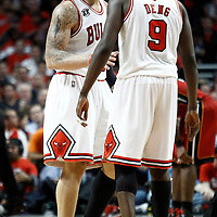 18 May 2011: Chicago Bulls power forward Carlos Boozer (5) talks to Chicago Bulls small forward Luol Deng (9) during the Miami Heat 85-75 victory over the Chicago Bulls, during game 2 of the Eastern Conference finals at the United Center, Chicago, Illinois, USA.