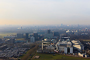 Nederland, Utrecht, Utrecht 10-01-2011.Skyline Utrecht met in de voorgrond de gebouwen van de Uithof, die bij de Universiteit horen. Te zien is o.a. de studentenflat Casa Confetti..Utrecht skyline, in the foreground the University buildings of the Uithof with student dormitory Casa Confetti..luchtfoto (toeslag), aerial photo (additional fee required).foto/photo Siebe Swart 10-01-2011;