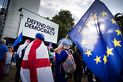 © Licensed to London News Pictures. 04/09/2019. London, UK. A People's Vote really is held outside Parliament ahead of tonight's votes. Prime Minister Boris Johnson suffered a defeat in the Commons last night when Tory rebels voted with the opposition in a bid to sop a no-deal Brexit. Photo credit: Peter Macdiarmid/LNP