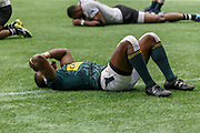 VANCOUVER, BC - MARCH 11: Siviwe Soyizwapi (#11) of South Africa lies in shock after fumbling at the goal line and losing a game winning try opportunity during Game # 39- South Africa vs Fiji Cup SF1 match at the Canada Sevens held March 10-11, 2018 in BC Place Stadium in Vancouver, BC. (Photo by Allan Hamilton/Icon Sportswire)