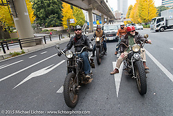 Nick Toscano and The Race of Gentlemen's Mel Stultz on a ride around Tokyo with friends of the Freewheelers And Company shop. Tokyo, Japan. December 8, 2015.  Photography ©2015 Michael Lichter.
