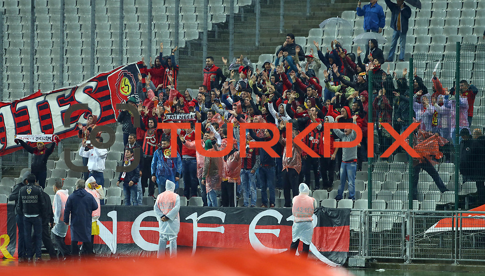 Eskisehirspor's supporters during their Turkish superleague soccer match Besiktas between Eskisehirspor at Ataturk Olimpiyat Stadium in Istanbul Turkey on Saturday 27 September 2014. Photo by Kurtulus YILMAZ/TURKPIX