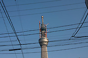 Tokyo sky tree under construction.  When finished this telecommunications towewr will measure 634 metres from top to bottom making it the tallest structure in East Asia. Oshiage, Tokyo, Japan. February 4th 2011