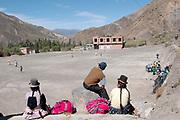 Bolivia,  June 2013. Sahapaqui. People watch a girls football match.