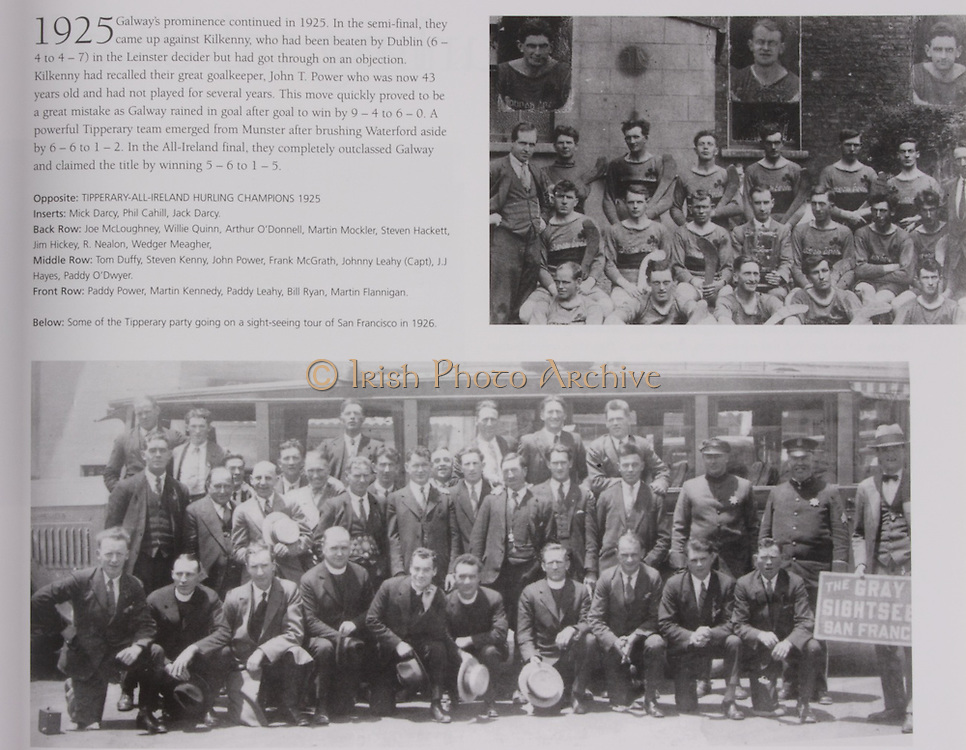 Tipperary-All-Ireland Hurling Champions 1925. Inserts: Mick Darcy, Phil Cahill, Jack Darcy. Back Row: Joe McLoughney, Willie Quinn, Arthur O'Donnell, Martin Mockler, Steven Hackett, Jim Hickey, R Nealon, Wedger Meagher. Middle Row: Tom Duffy, Steven Kenny, John Power, Frank McGrath, Johnny Leahy (capt), J J Hayes, Paddy O'Dwyer. Front Row: Paddy Power, Martin Kennedy, Paddy Leahy, Bill Ryan, Martin Flannigan. .Below: Some of the Tipperary party going on a sight-seeing tour of San Francisco in 1926.<br /> gaelic games football.<br /> gaelic league ireland.<br /> galic games,<br /> galway gaa hurling,<br /> hurling and gaelic football,<br /> hurling champions,<br /> hurling final tickets,hurling gaa,<br /> hurling league,<br /> hurling semi final,