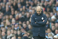 Manager for Manchester City Pep Guardiola during the The FA Cup 3rd round match between Manchester City and Rotherham United at the Etihad Stadium, Manchester, England on 6 January 2019.