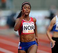 Friidrett<br /> 20. Juni 2009<br /> European Team Championships 1. st Leauge<br /> Fana Stadion<br /> 100 m<br /> Ezinne Okparaebo , Norge<br /> Foto : Astrid M. Nordhaug