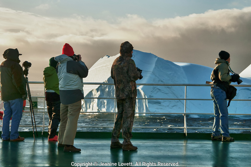 People on board ship photographing iseburgs in Antactica.