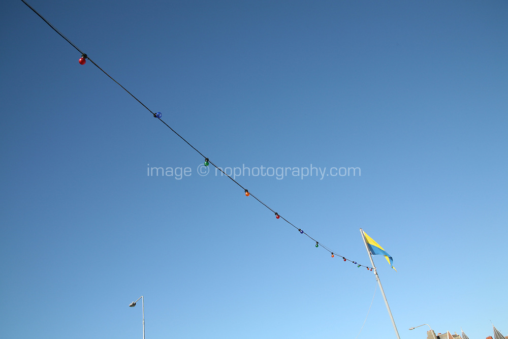 Colourful party lights on Bray seafront County Wicklow Ireland