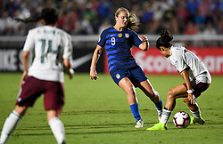 October 4, 2018 - Cary, North Carolina, United States - Cary, N.C. -  Thursday October 4, 2018: The women's national teams of the United States (USA) and Mexico (MEX) play in a 2018 CONCACAF Women's Championship game at Sahlen's Stadium at WakeMed Soccer Park. (Credit Image: © Brad Smith/ISIPhotos via ZUMA Wire)