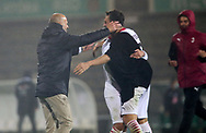 Milan manager Stefano Pioli celebrates their victory with team mates after the penalty shoot-out during the Europa League match between Rio Ave FC and AC Milan at Estadio dos Arcos, Vila do Conde, Portugal on 1 October 2020.