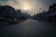 Quiet road through Oudom Xai (Muang Xay), Oudomxay Province, Laos, Southeast Asia