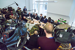 London - Alleged computer hacker Lauri Love at a press conference surrounded by his legal team and family, held at the chambers of his solicitors in London after he successfully challenged a ruling that he can be extradited to the US, following allegations that he hacked United States government websites. PICTURED: Press conference GV. February 05 2018.
