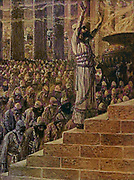 """SOLOMON DEDICATES THE TEMPLE AT JERUSALEM. I Kings viii. 13. """"IT have surely built thee an house to dwell in, a settled place for thee to abide in for ever.' From the book ' The Old Testament : three hundred and ninety-six compositions illustrating the Old Testament ' Part II by J. James Tissot Published by M. de Brunoff in Paris, London and New York in 1904"""