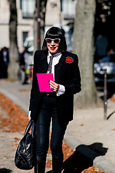 Street style, Chantal Thomass arriving at Manish Arora spring summer 2019 ready-to-wear show, held at Pavillon Ledoyen, in Paris, France, on September 27th, 2018. Photo by Marie-Paola Bertrand-Hillion/ABACAPRESS.COM