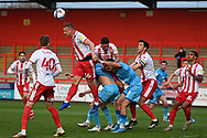 Stevenage forward Luke Norris(36) heads the ball during the EFL Sky Bet League 2 match between Stevenage and Cheltenham Town at the Lamex Stadium, Stevenage, England on 20 April 2021.