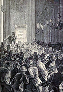 """Great excitement among business men from The Begum's Fortune (French: Les Cinq cents millions de la Bégum, literally """"the 500 millions of the begum""""), also published as The Begum's Millions, is an 1879 novel by Jules Verne, with some utopian elements and other elements that seem clearly dystopian. It is noteworthy as the first published book in which Verne was cautionary, and somewhat pessimistic about the development of science and technology.. Translated by W.H.G. Kingston in 1860 Published in Philadelphia by J. B. Lippincott and Co."""