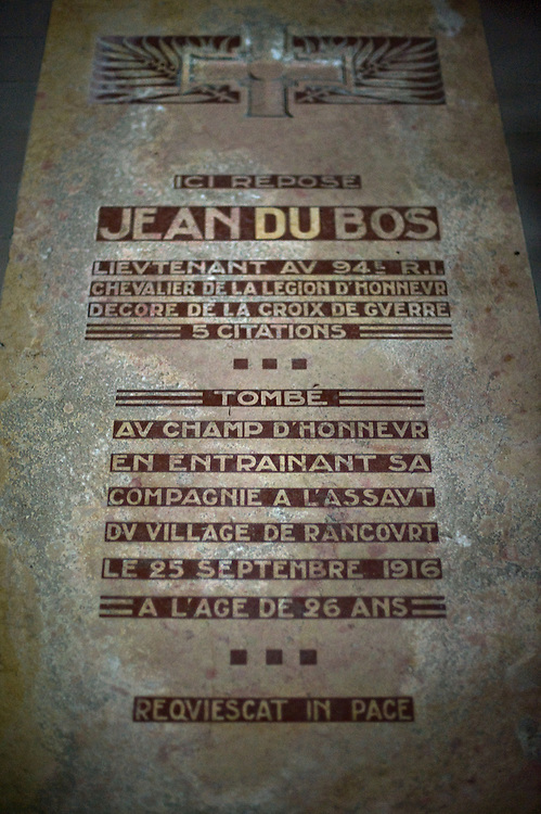 The grave of Jean du Bos at the Chapel of Remembrance (Chapelle des Souvenirs ) in Rancourt, Picardy build by the dy Bos family as a commemoration to their son Jean and his comrades who were killed there in September 1916. The National Cemetery of Rancourt is the largest French cemetery in Somme with 8566 graves.
