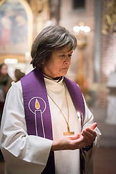 """9 December 2017, Oslo, Norway: In the Trinity Church in Oslo, Norway on 9 December, the World Council of Churches and the Church of Norway hosted an ecumenical prayer service on the occasion of the Nobel Peace Prize ceremony. Oslo hosts the Nobel Peace Prize award ceremony on 9-10 December 2017. The prize in 2017 goes to the International Campaign to Abolish Nuclear Weapons (ICAN), for """"its work to draw attention to the catastrophic humanitarian consequences of any use of nuclear weapons and for its ground-breaking efforts to achieve a treaty-based prohibition of such weapons"""". Here, Church of Norway's presiding bishop Helga Haugland Byfuglien."""