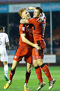 Crawley Town defender Josh Yorwerth (15) celebrates his goal with Crawley Town forward James Collins (19) to make it 2-1 during the EFL Sky Bet League 2 match between Crawley Town and Newport County at the Checkatrade.com Stadium, Crawley, England on 17 December 2016. Photo by Andy Walter.