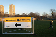 A day after London Mayor Sadiq Khan announced the spread of Covid is said to be out of control, an asymptomatic COVID-19 testing centre has been set-up in Brockwell Park in Lambeth and during the third pandemic lockdown, on 9th January 2021, in London, England. The Coronavirus infection rate in London has exceeded 1,000 per 100,000 people, based on the latest figures from Public Health England although the Office for National Statistics recently estimated as many as one in 30 Londoners has coronavirus.