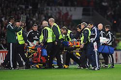 Victor Moreira of Andorra is stretchered off  - Mandatory byline: Dougie Allward/JMP - 07966 386802 - 13/10/2015 - FOOTBALL - Cardiff City Stadium - Cardiff, Wales - Wales v Andorra - European Qualifier 2016 - Group B