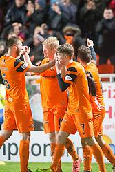 Dundee United's Thomas Mikkelsen cele scoring their third goal. Dundee United 3 v 0 Raith Rovers, Scottish Championship game played 4/2/2017 at Dundee United's stadium Tannadice Park.