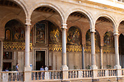 The arched entryway to the Palatine Chapel (Cappella Palatina) inside the Palazzo dei Normanni, Palermo, Sicily.