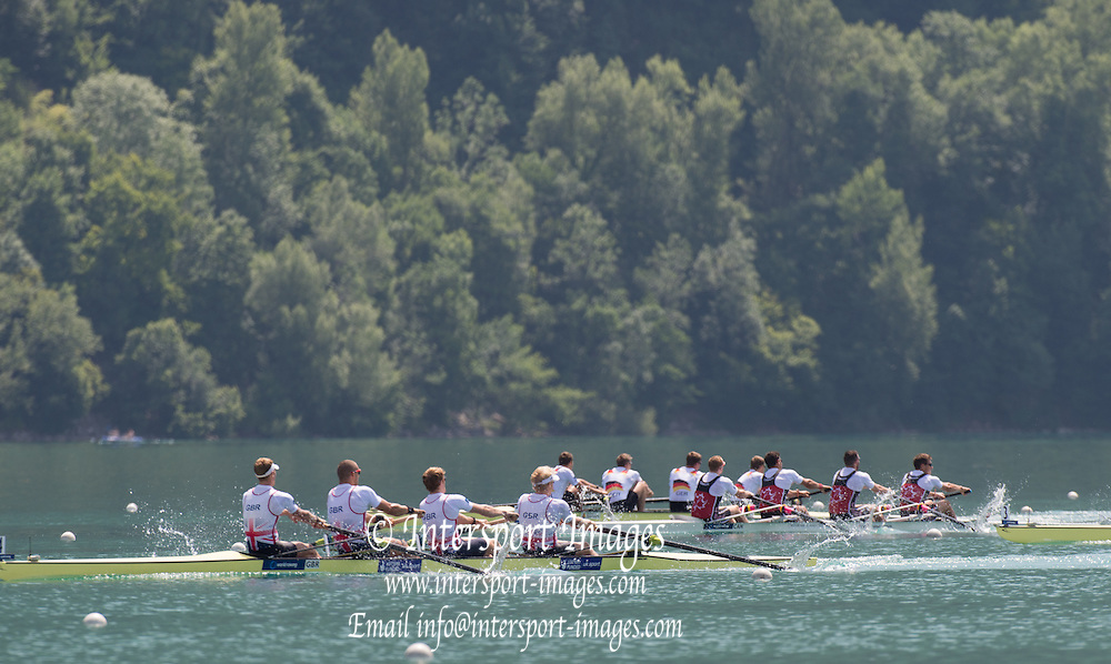 Aiguebelette, FRANCE.   GBR M4- Gold Medallist left  to right,  Alex GREGORY, Mo SBIHI, George NASH and Andy TRIGGS HODGE.   2014 FISA World Cup II, 12:08:30  Sunday  22/06/2014. [Mandatory Credit; Peter Spurrier/Intersport-images]
