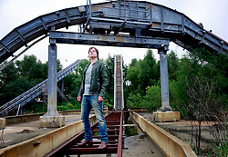 17 October 2013. Abandoned Six Flags, New Orleans, Louisiana. <br /> Lead singer Terry McDermott of the band Terry McDermott and the Bonfires. <br /> Photo; Charlie Varley