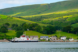 Caledonian Macbrayne ferry Loch Dunvegan crossing Kyles of Bute between Rhubodach on the  Isle of Bute and Colintraive in Argyll and Bute, Scotland, UK