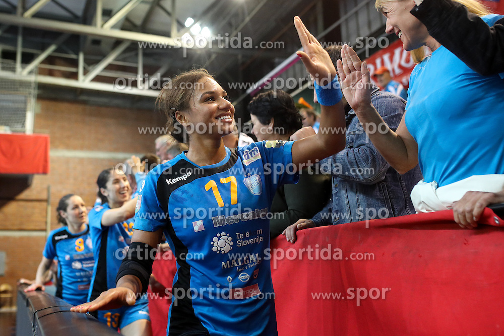 Elizabeth Omoregie of RK Krim celebrates after handball EHF Champion League 3rd Round match between RK Krim Mercator and IK Savehof, on October 29, in Kodeljevo, Ljubljana, Slovenia. Photo by Morgan Kristan / Sportida