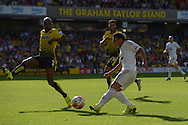 Jefferson Montero of Swansea City takes a shot on goal. Barclays Premier League, Watford v Swansea city at Vicarage Road in London on Saturday 12th September 2015.<br /> pic by John Patrick Fletcher, Andrew Orchard sports photography.