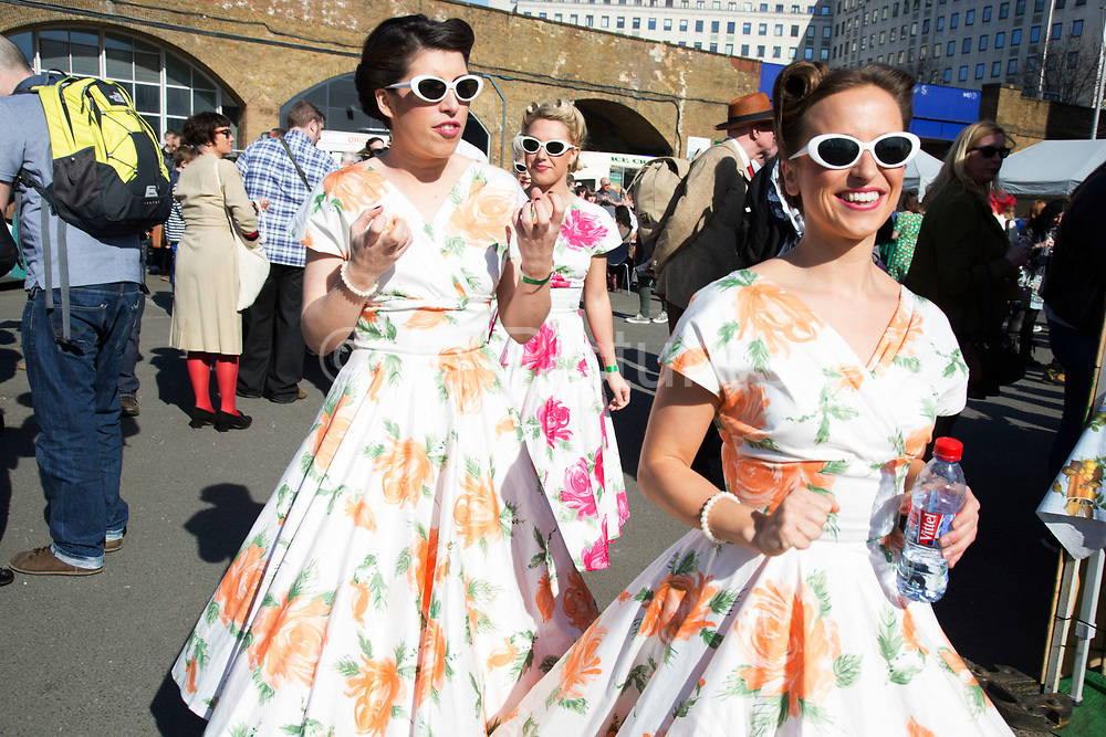 The Classic Car Boot Sale at the Southbank Centre, South Bank, London, UK. Vintage cars, fashion and style assemble together to celebrate all things classic from the 1940s to 1960s.