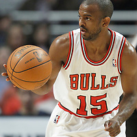 26 March 2012: Chicago Bulls point guard John Lucas III (15) brings the ball upcourt during the Denver Nuggets 108-91 victory over the Chicago Bulls at the United Center, Chicago, Illinois, USA. NOTE TO USER: User expressly acknowledges and agrees that, by downloading and or using this photograph, User is consenting to the terms and conditions of the Getty Images License Agreement. Mandatory Credit: 2012 NBAE (Photo by Chris Elise/NBAE via Getty Images)