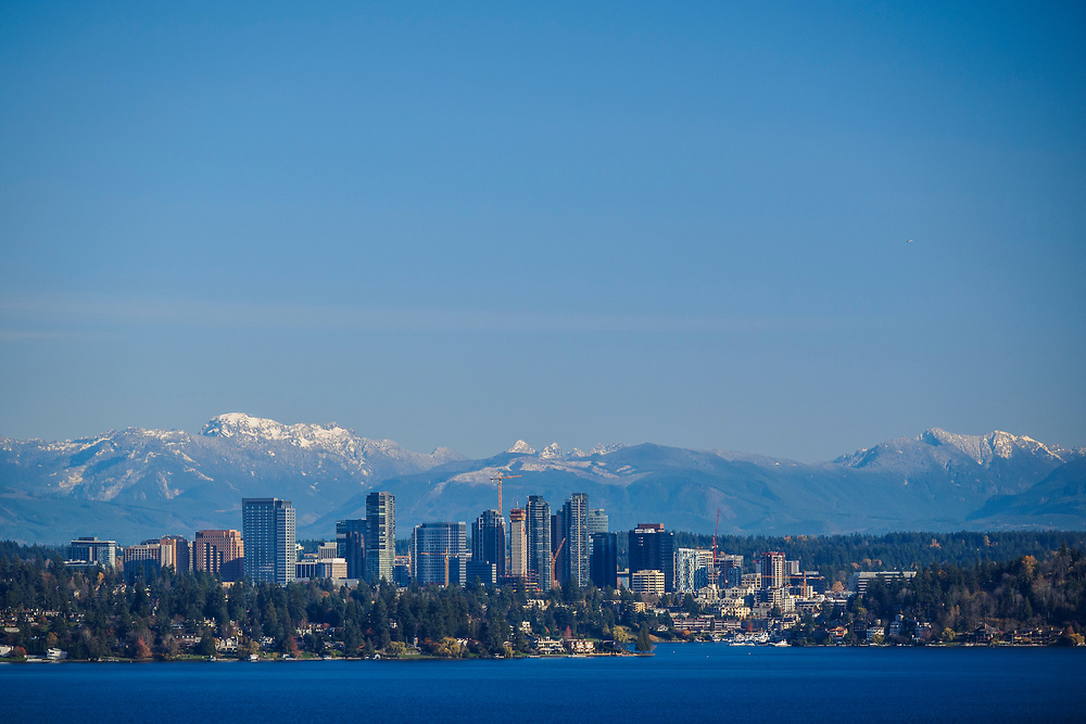 North America, United States, Washington, Bellevue. Bellevue skyline from Lake Washington.