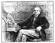Thomas, Henry Huxley (1825-1895) aged 64. British biologist, supporter of Darwin and evolution, at his desk.  Engraving.