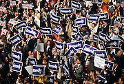 Democratic supporters cheer for U.S Senator Ted Kennedy during his speech at the 1996 Democratic National Convention August 29, 1996 in Chicago, IL.