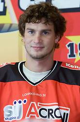 Gregor Poloncic, member of HK Acroni Jesenice ice-hockey team for season 2008/2009 at official photo shooting in Arena Podmezaklja, Jesenice, on September 24, 2008. (Photo by Vid Ponikvar / Sportal Images)