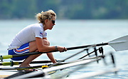 Bled, SLOVENIA, General View, GBR W1X, Mel WILSON. Boating for a training session.  1st FISA World Cup, on Lake Bled.  Thursday  27/05/2010  [Mandatory Credit Peter Spurrier/ Intersport Images]