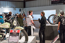 Photographer and show exhibitor Josh Kurpius at the Old Iron - Young Blood exhibition media and industry reception in the Motorcycles as Art gallery at the Buffalo Chip during the annual Sturgis Black Hills Motorcycle Rally. Sturgis, SD. USA. Sunday August 6, 2017. Photography ©2017 Michael Lichter.