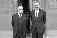 Major James Chichester-Clark, newly-elected leader of the Ulster Unionist Party, emerges from Government House, Hillsborough, N Ireland, during which he advised Lord Grey, Governor of N Ireland, of his intention to form a government. 1969050100170.<br /> <br /> Copyright Image from Victor Patterson,<br /> 54 Dorchester Park, Belfast, UK, BT9 6RJ<br /> <br /> t1: +44 28 90661296<br /> t2: +44 28 90022446<br /> m: +44 7802 353836<br /> <br /> e1: victorpatterson@me.com<br /> e2: victorpatterson@gmail.com<br /> <br /> For my Terms and Conditions of Use go to<br /> www.victorpatterson.com