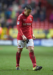 Charlton Athletic's Ahmed Kashi walks off the pitch at full time dejected after a home loss