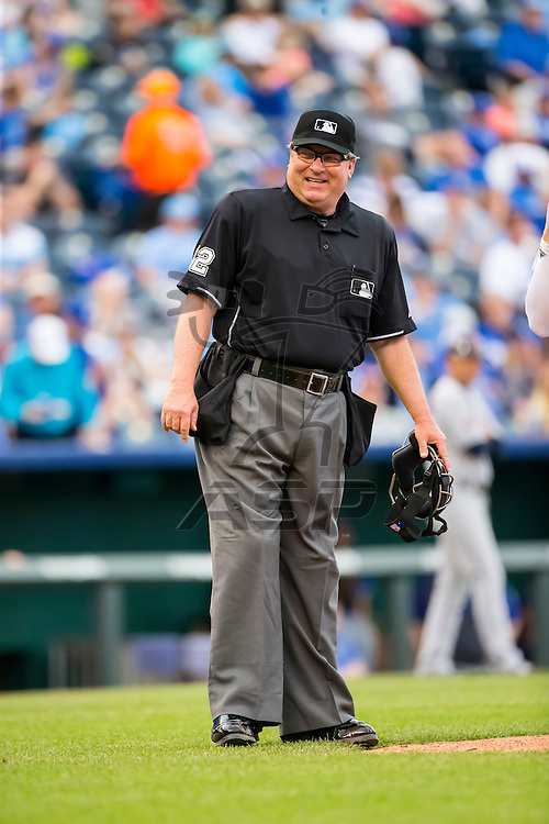 Kansas City, MO - May 07, 2015: Home plate umpire, Gerry Davis, officiates as the Kansas City Royals play host to the visiting Cleveland Indians at Kauffman Stadium in Kansas City, MO.  The Royals beat the Indians 7-4.  Photo by Walter G. Arce, Sr.