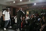 l to r: Biz Markie and Common at the Common Celebration Capsule Line Launch with Softwear by Microsoft at Skylight Studios on December 3, 2008 in New York City..Microsoft celebrates the launch of a limited-edition capsule collection of SOFTWEAR by Microsoft graphic tees designed by Common. The t-shirt  designs. inspired by the 1980's when both Microsoft and and Hip Hop really came of age, include iconography that depicts shared principles of the technology company and the Hip Hop Star.