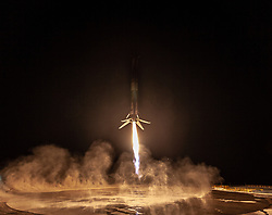 October 7, 2018 - Vandenberg Air Base, California, U.S. - The SpaceX Falcon 9 rocket launched the first West Coast return-to-launch-site mission Sunday. The launch, whose primary mission was to deploy Argentina's SAOCOM 1A radar imaging satellite, took place from Vandenberg Air Force Base's Space Launch Complex 4E at 19:22 Pacific Time. Falcon's first stage successfully touched down at the nearby Landing Zone 4 about seven and three-quarter minutes after liftoff. (Credit Image: ? SpaceX/ZUMA Wire/ZUMAPRESS.com)