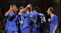 Photo: Paul Thomas.<br /> Lyon v Rangers. UEFA Champions League, Group E. 02/10/2007.<br /> <br /> Striker Daniel Cousins (L) and Rangers celebrate his wonder goal.